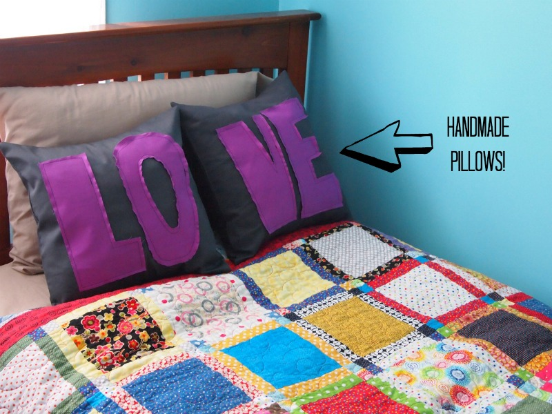 Handmade love pillows sew